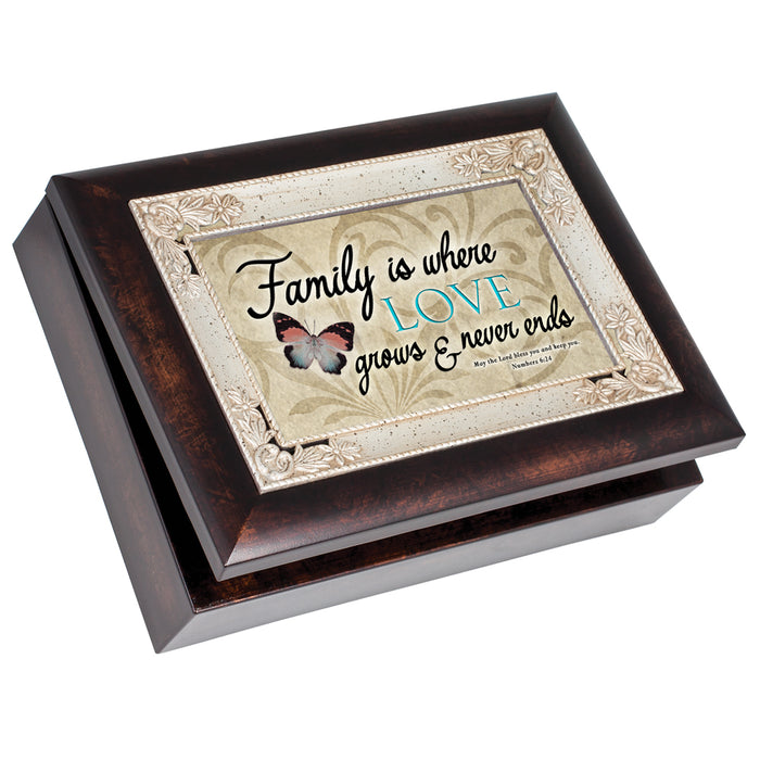 FAMILY IS WHERE LOVE GROWS NUMBERS 6:24 JEWELRY BOX