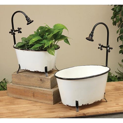 2/Set Metal Bathtub Planters