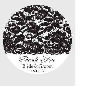 Lace personalised thank you tag