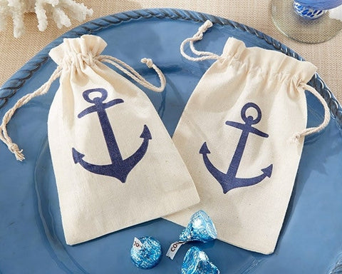 Voyages Anchor Muslin Favour Bag