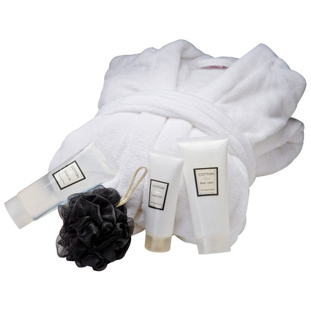Soft white bath robe