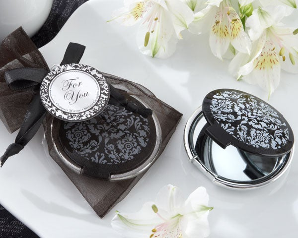 Black and White Compact Mirror Wedding Favour