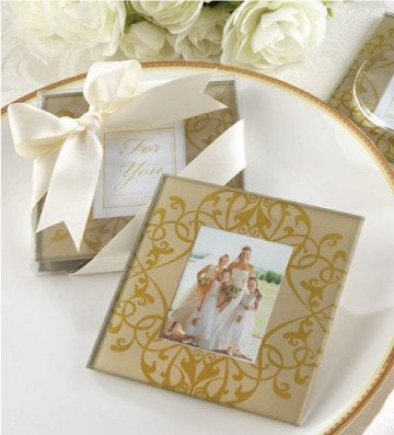 Golden brocade framed coaster