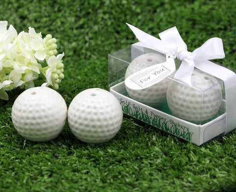 Ceramic Golf Ball Salt and Pepper Shakers