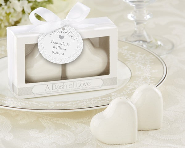 A Dash of Love Ceramic Heart - Salt & Pepper Shakers Gift for Guest