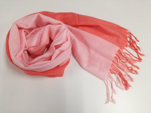 Soft coral pashmina with fading effect