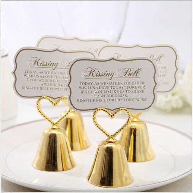 Gold Kissing Bell Place Card Holders with Heart Handle (317887857)