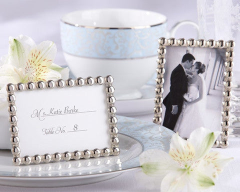 Silver Pearls Frame Placecard/Photo Holder Wedding Favours