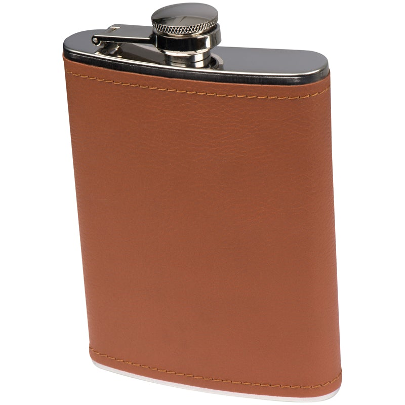 Stainless steel hip flask with leatherette finish (1548161482836)