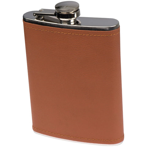 Stainless steel hip flask with leatherette finish