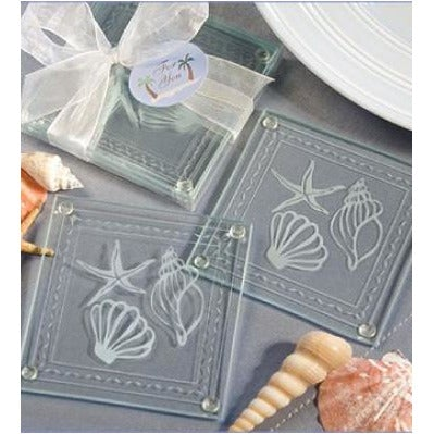Frosted Shell & Starfish Coasters Wedding Favours (90564133)