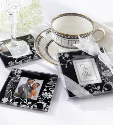 Black and White Floral Coaster Gift Set