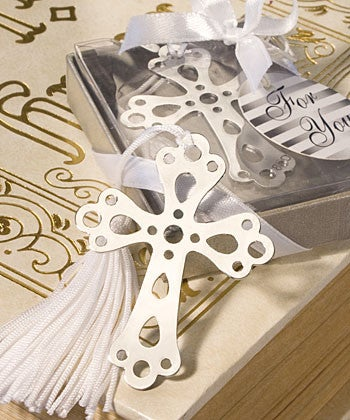 Cross bookmark Christening favours (2060161669)