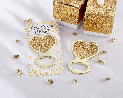 Gold Glitter Heart Bottle Openers