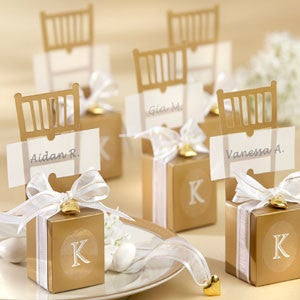 Gold chair placeholder wedding favour Gift box