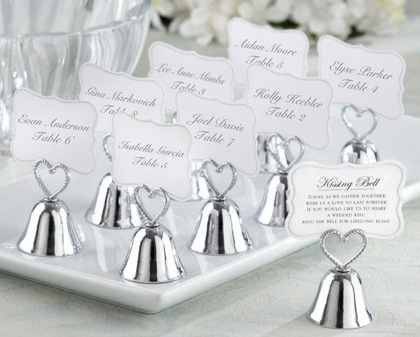 Silver Kissing Bell Place Card Holder Wedding Favours