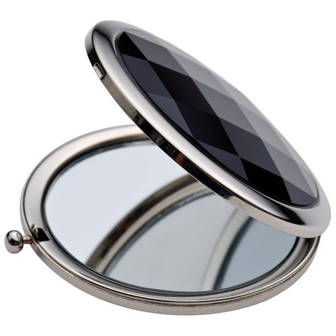 Luxury Compact Mirror with Black Stone detail