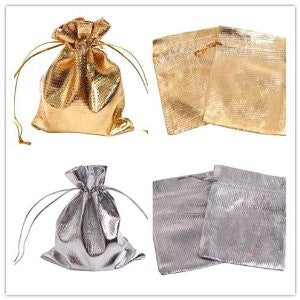 Metallic drawstring favour bags