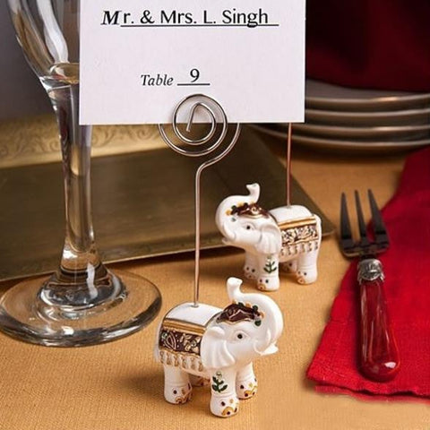 Majestic white elephant place card holder