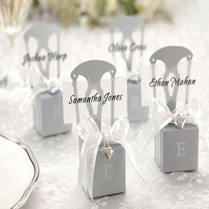 Silver chair placeholder wedding favour