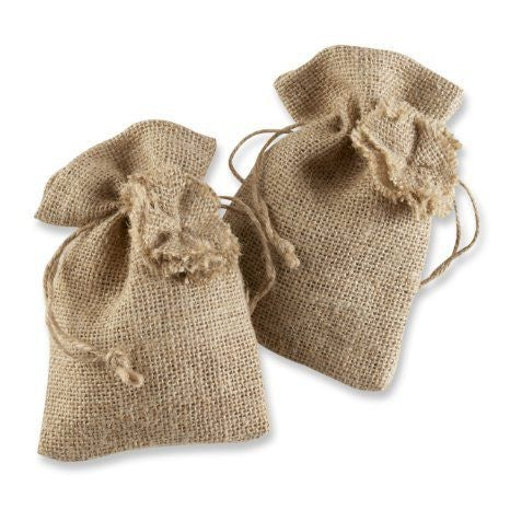 Rustic Burlap Bag With Drawstring Tie