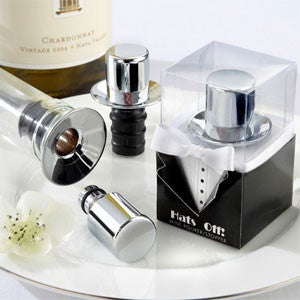 top hat wine stopper wedding favours