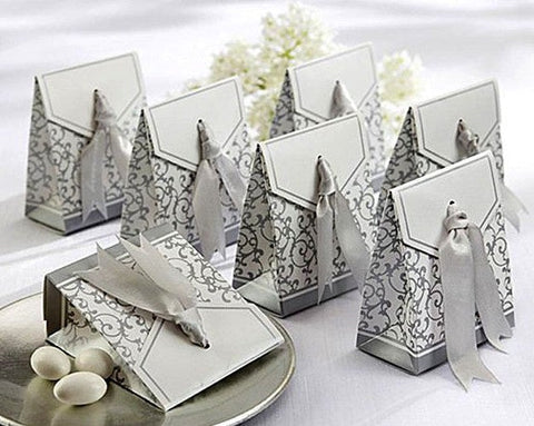 White and Silver Wedding Favour Gift Box with Silver Ribbon (Set of 10)