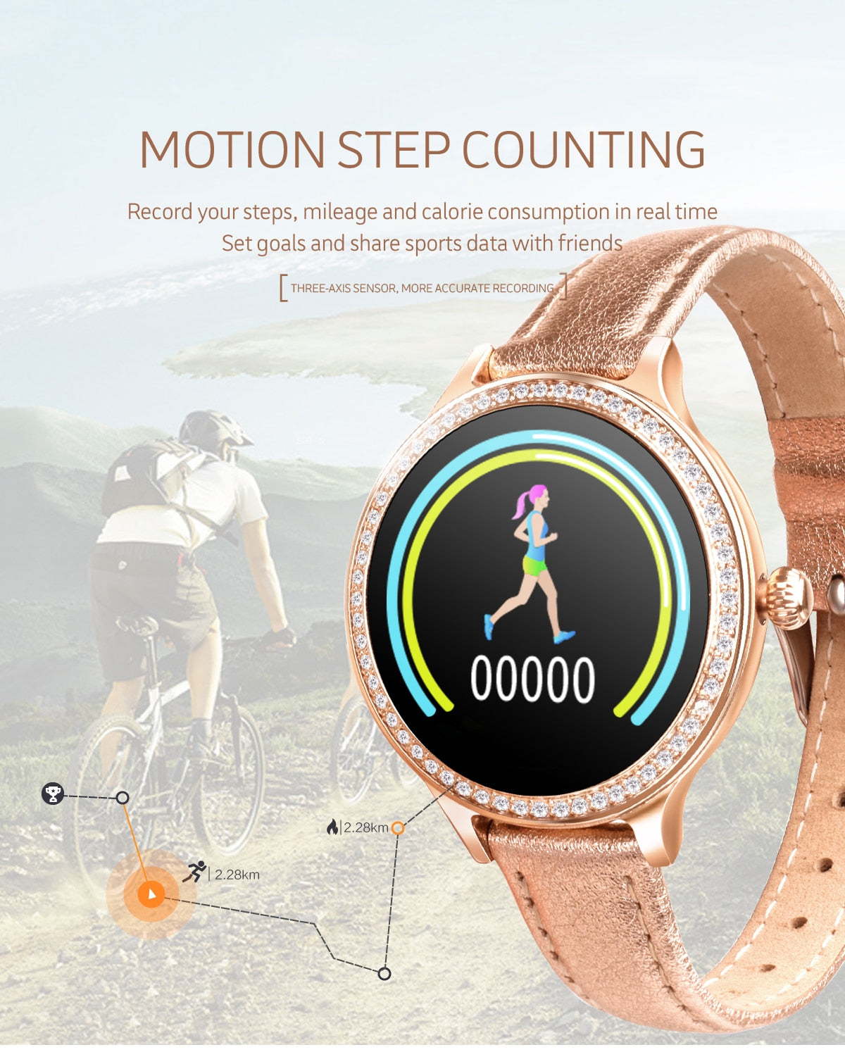 Ladies Diamond Smart Bracelet - Monitor Your Health & Fitness