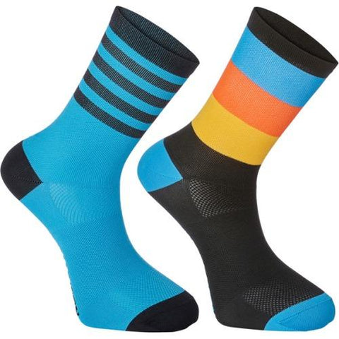 Madison Sportive Mens Mid Sock Block Stripe Black / Cyan Blue Twin Pack