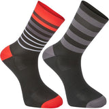 Madison Sportive Mens Long Sock Multi Hoops Black / Flame Red Twin Pack