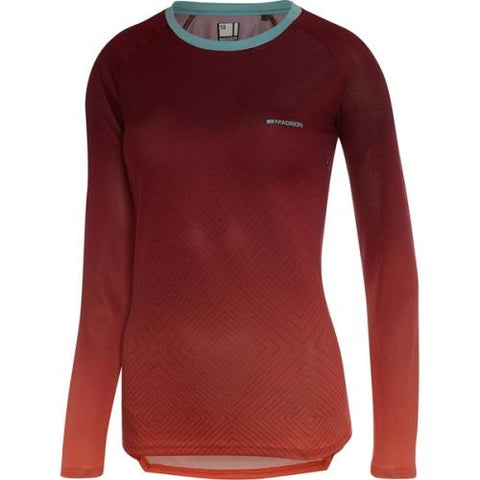 Madison Flux Womens Long Sleeve Jersey Diamonds Classy Burgundy / Intense Coral  Front