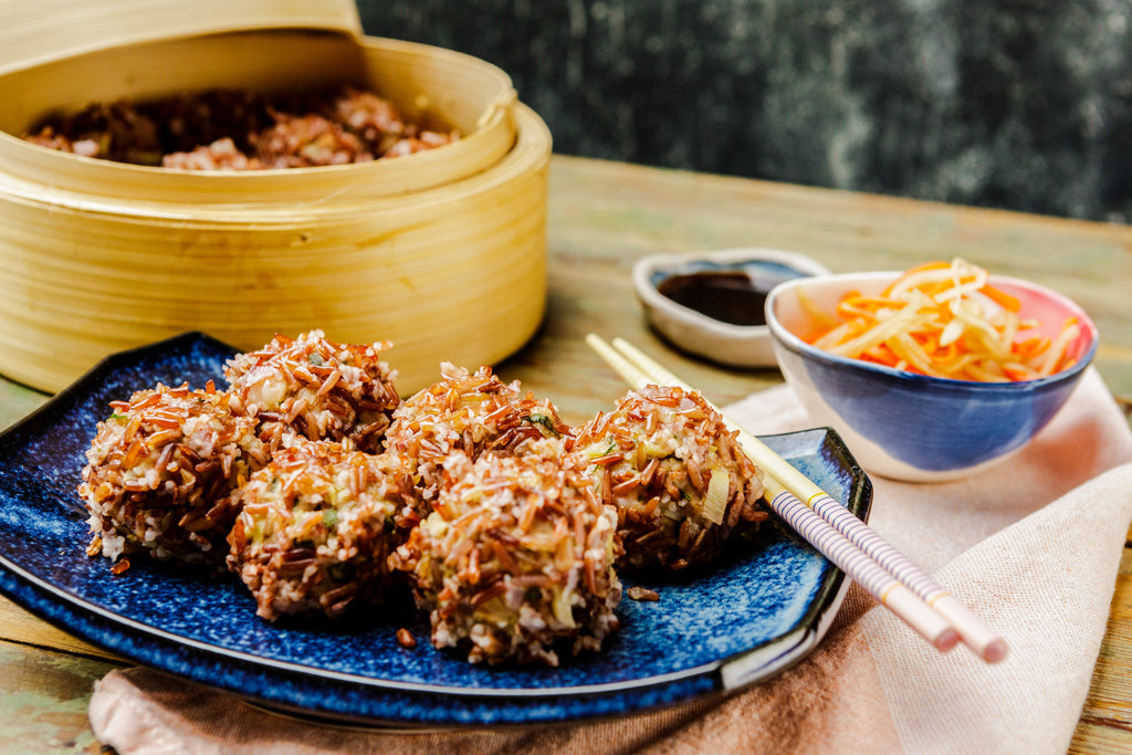 Daikon Salad & Red Rice Prawn & Pork Balls by Laura Neville