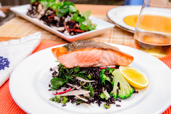 Seared Salmon With Black Rice Bedding