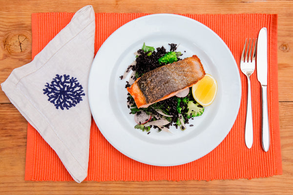 Seared Salmon with Black Rice. Quick and easy nutrition.