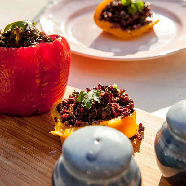 Capsicums stuffed with black rice