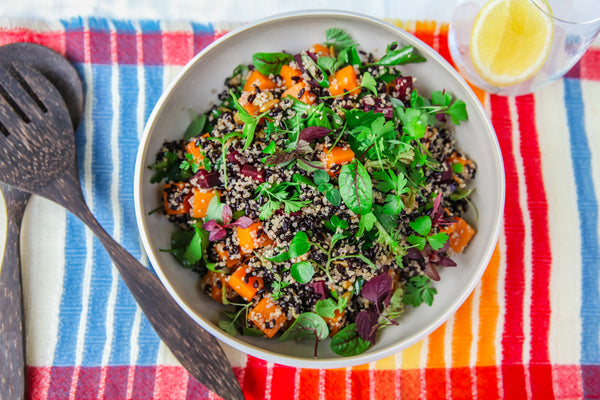 Black Rice Salad with Heirloom Carrots and Butternut Pumpkin Top View