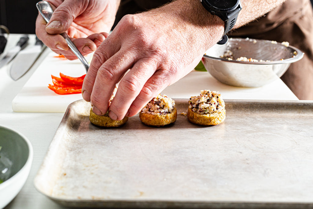 Assembling Quinoa Flour Crumpets with Spanner Crab and Avocado