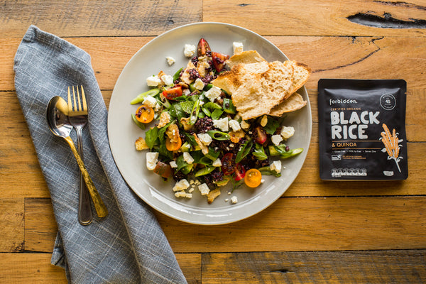 Middle Eastern Fattoush Salad Recipe with Black Rice & Quinoa