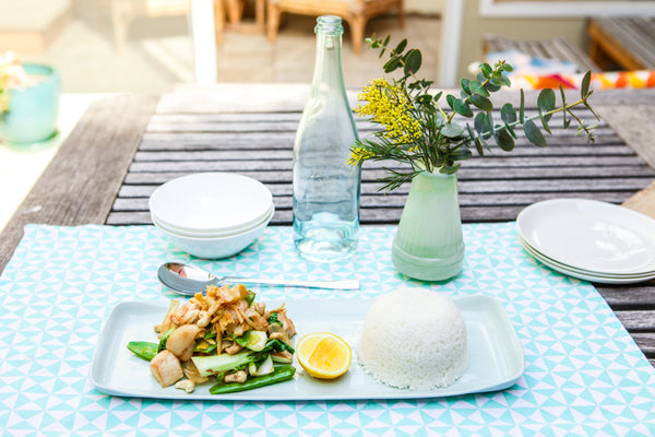 Lemon Chicken Recipe with Forbidden Organic White Rice Table View