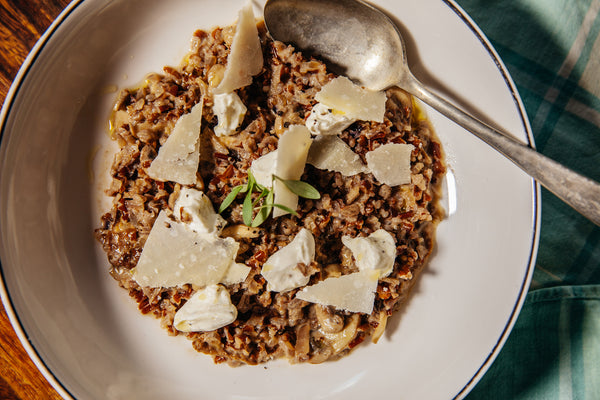 Red Rice Mushroom Risotto with Porcini, Grana Padano & Black Pepper Cream