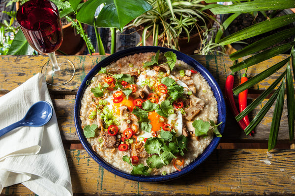 Pork Belly Brown Rice Congee Recipe by Tyler Preston & Forbidden Foods Rice Company