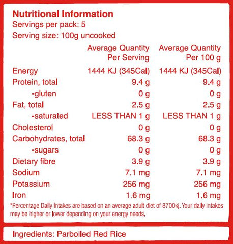 Forbidden Red Rice Nutritional Information