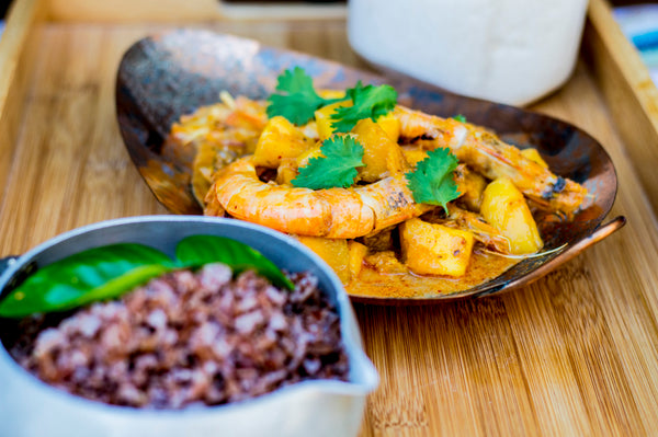 Prawns in Curry with Forbidden Red Rice By Its Side