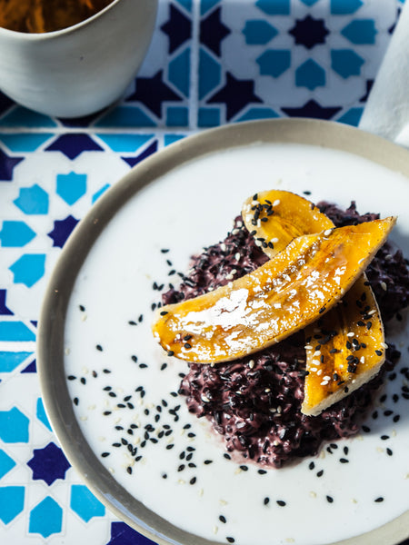 Sticky Black Rice, Coconut & Banana Recipe by Tyler Preston for Forbidden Foods