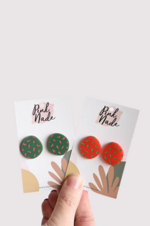 The Bonnie Christmas Studs Red + Green Spot