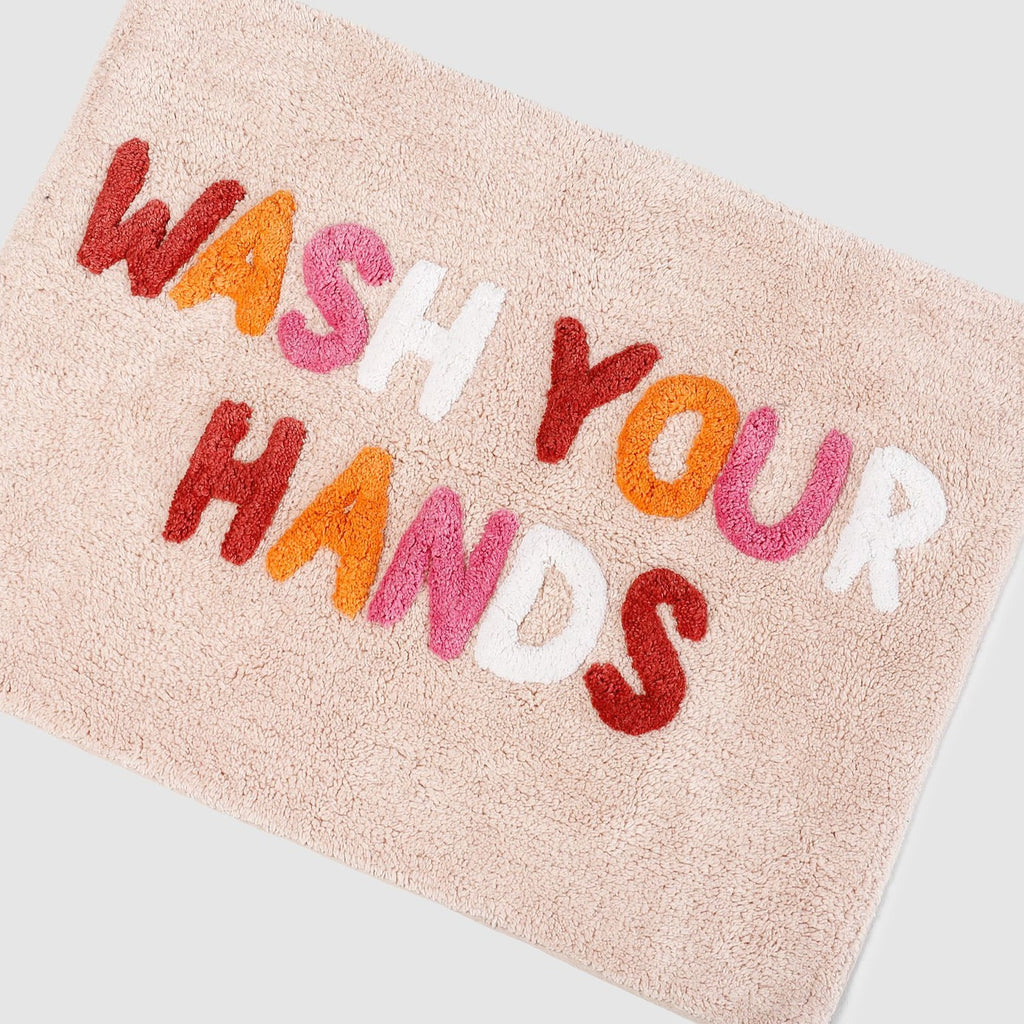 Wash Your Hands Bathmat Peach Multi