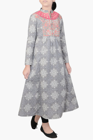 JUNIOR GIRLS' ETHNIC TRAIL GRANITE GREY PRINTED (10-15 YEARS)