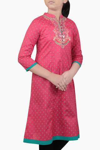 GRILS ETHNIC ROSE RED (6-9 Years)