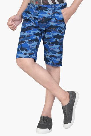 PRINCE SHORT PANT BLUE PRINTED (6-9 Years)
