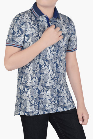 Junior Boy's polo BLUE PRINTED (10-15 Years)